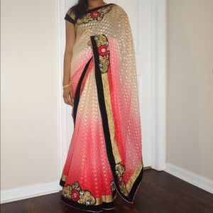 Multicolor light weight saree with blouse